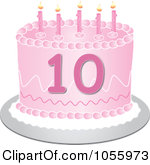 Clip Art Illustration Of A Pink Tenth Birthday Cake With Candles