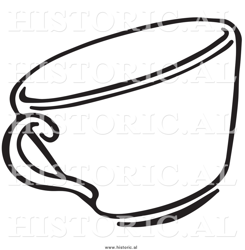 Clipart Of A Tea Cup   Black And White Line Drawing By Al    9298
