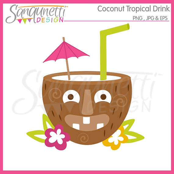Coconut Tropical Tiki Drink Single Clipart Commercial Use License