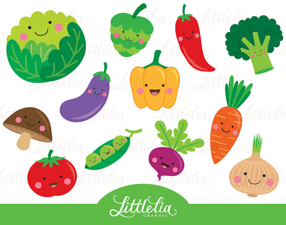 Cute Vegetable Clipart Veggie Clipart 15063 By Littleliagraphic