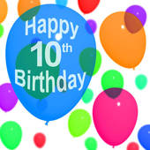 For Celebrating A 10th Or Tenth Birthday   Royalty Free Clip Art