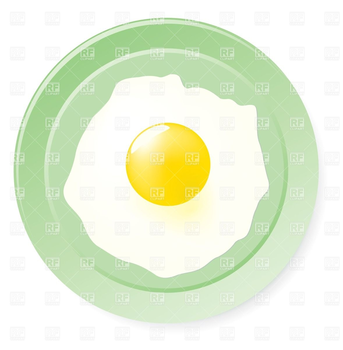 Fried Egg On Green Plate 32634 Download Royalty Free Vector Clipart