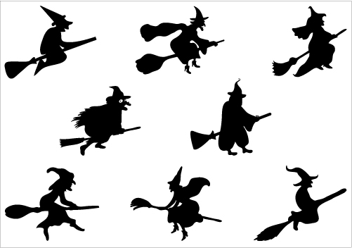 Halloween Witch Flying On A Broomstick Vector Graphicscategory