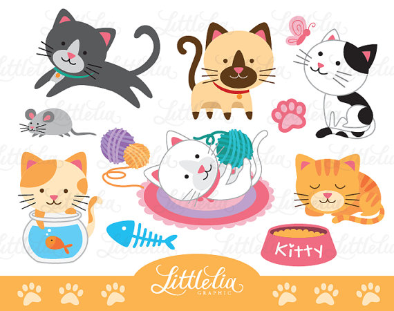 Lovely Cat Clipart   Cute Cat Clipart   Cat Lover Clipart