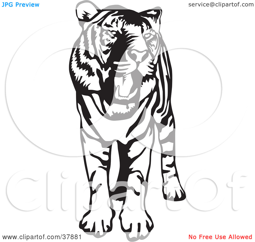 Open Mouth Clipart Black And White Clipart Illustration Of A