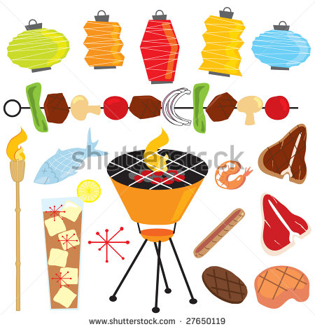 Party With Tiki Torch Lanterns Shish Kabob Drink Fish And Meats