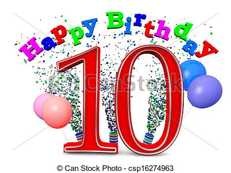 Stock Illustration   Happy 10th Birthday   Stock Illustration Royalty