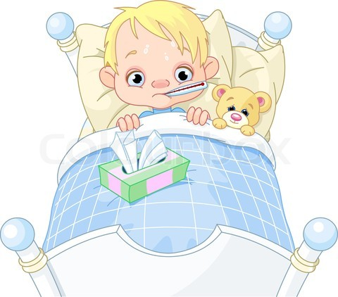 3189693 616447 Cartoon Illustration Of Cute Sick Boy In Bed Jpg