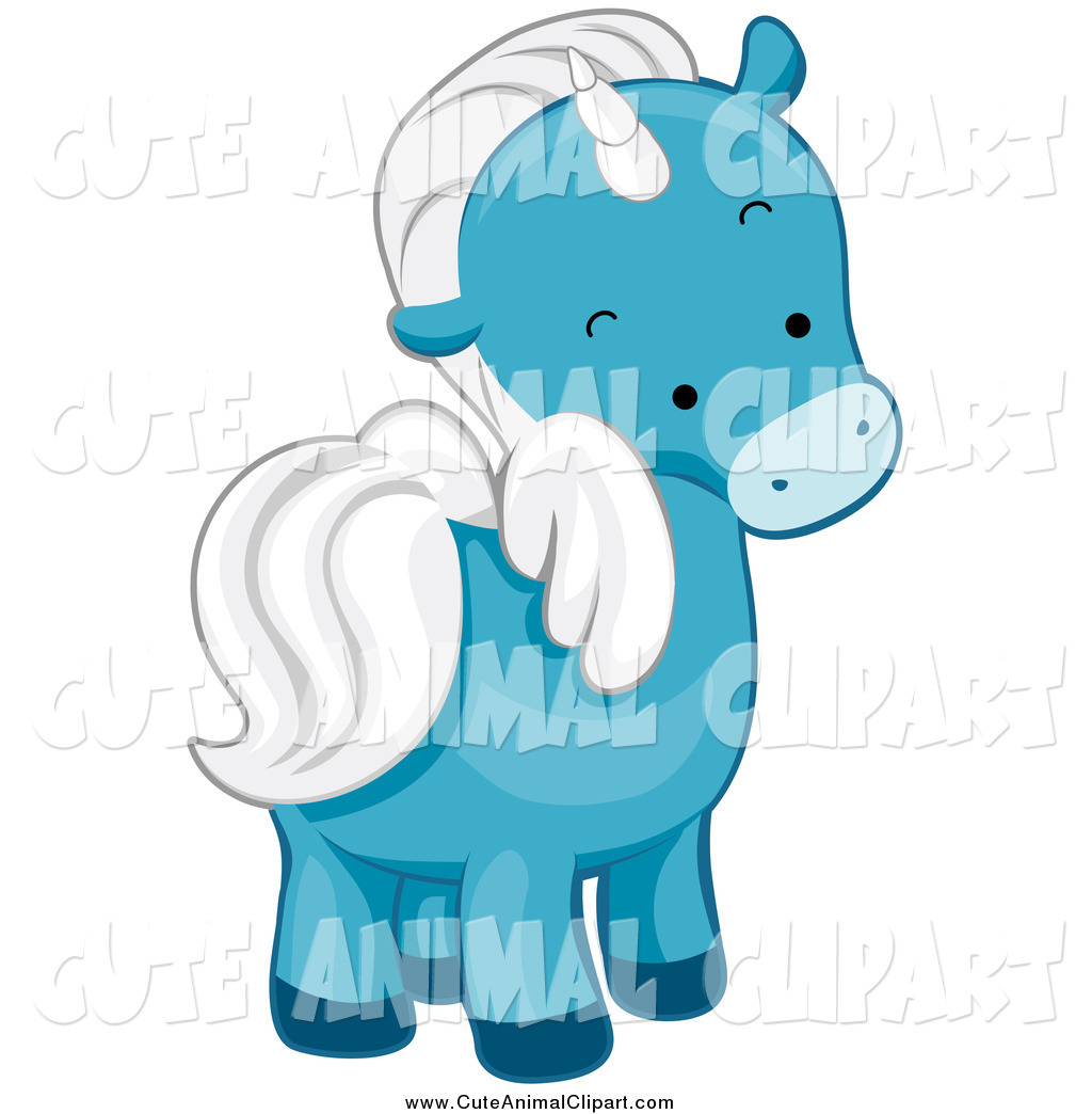 Art Of A Cute Blue Winged Unicorn Glancing Back By Bnp Design Studio