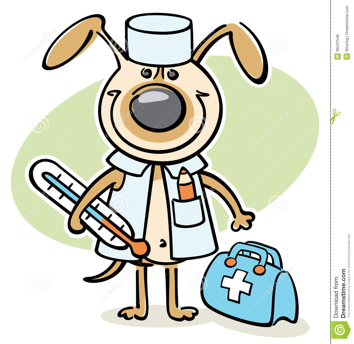 Cartoon Dog   Veterinarian Character With Thermometer