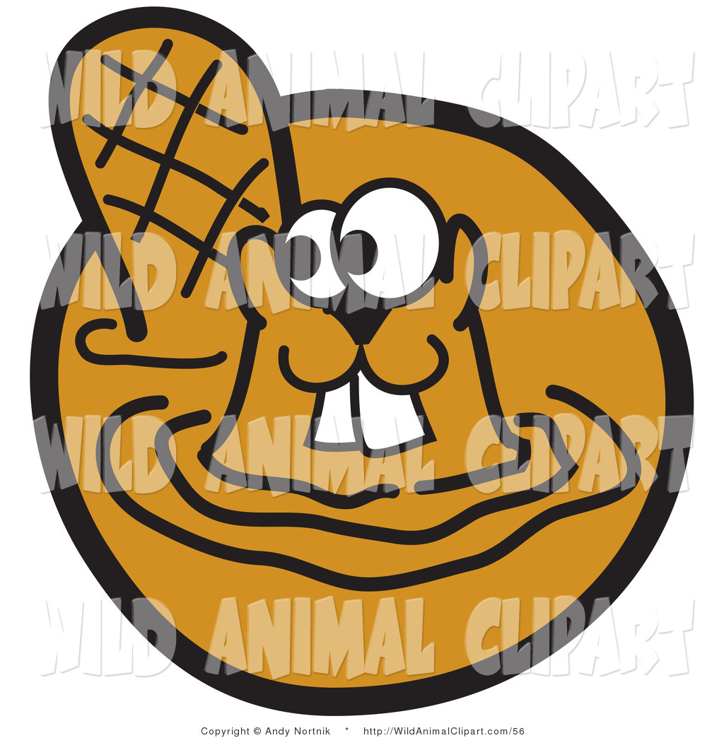 Clip Art Of A Cute Beaver With Buck Teeth Swimming In Muddy Water By