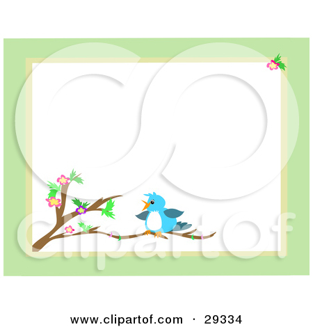 Clipart Illustration Of A Green Stationery Border Around A Blue Bird