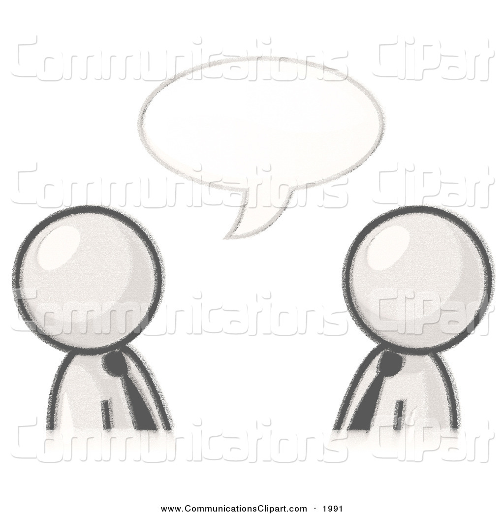 Clipart Of A Sketched Design Mascot Businessmen Having A Conversation