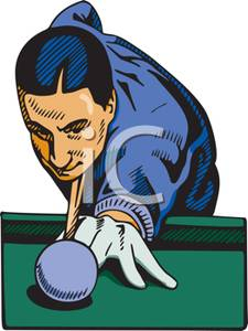 Competitor Playing In A Pool Tournament   Royalty Free Clipart Picture