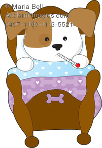 Cute Cartoon Puppy Sick In Bed Clipart Image   Acclaim Stock