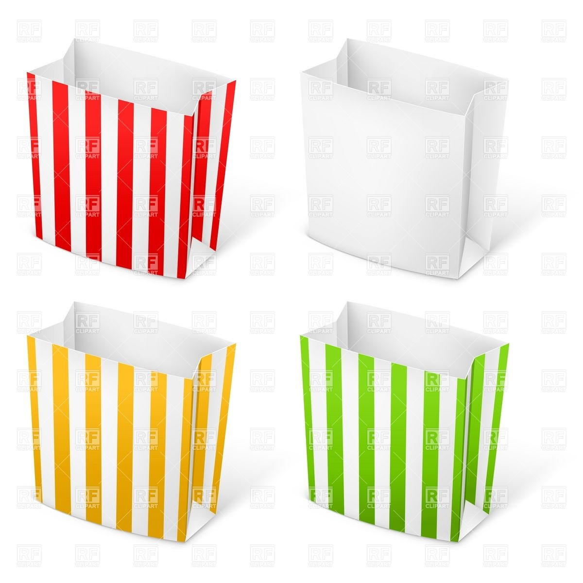 Empty Stripped Paper Bags For Popcorn Or French Fries 8030 Design