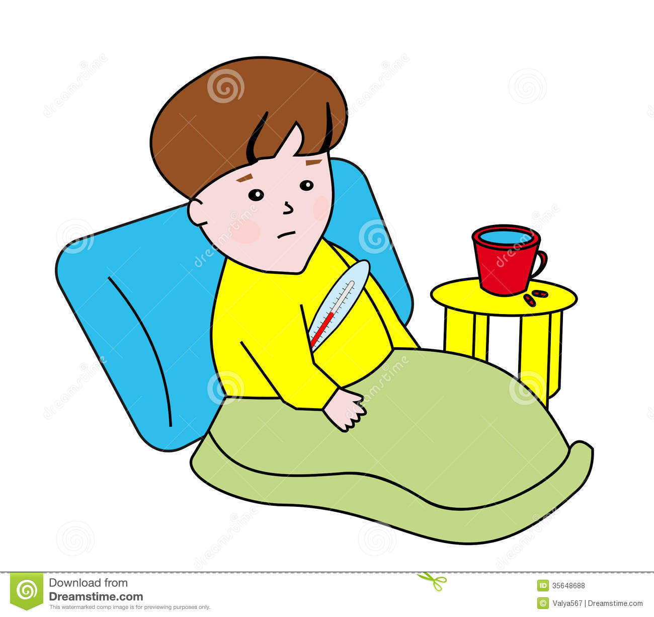 Boy Sick In Bed Clipart - Clipart Suggest