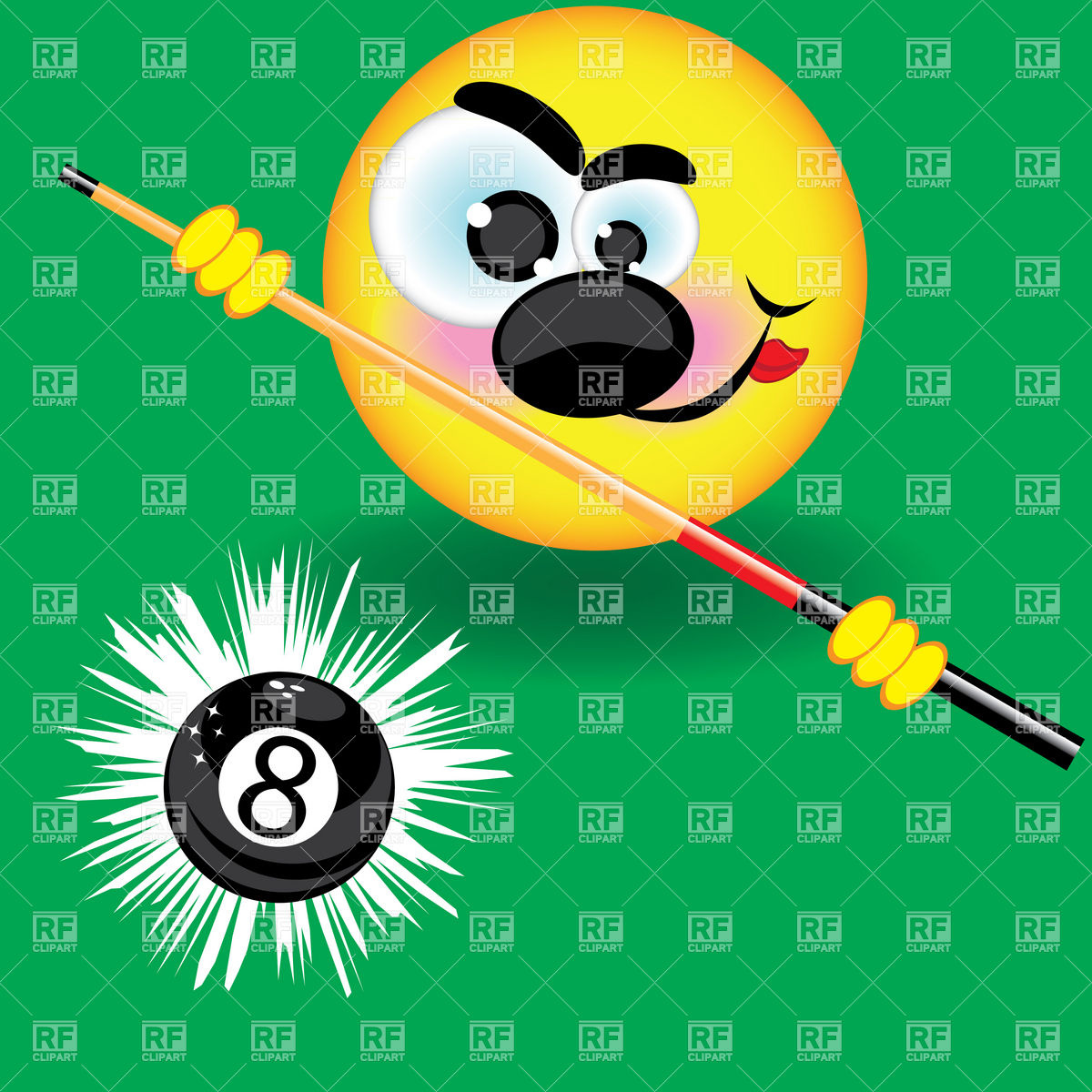 Funny Smiling Pool Ball On The Green Background Download Royalty Free