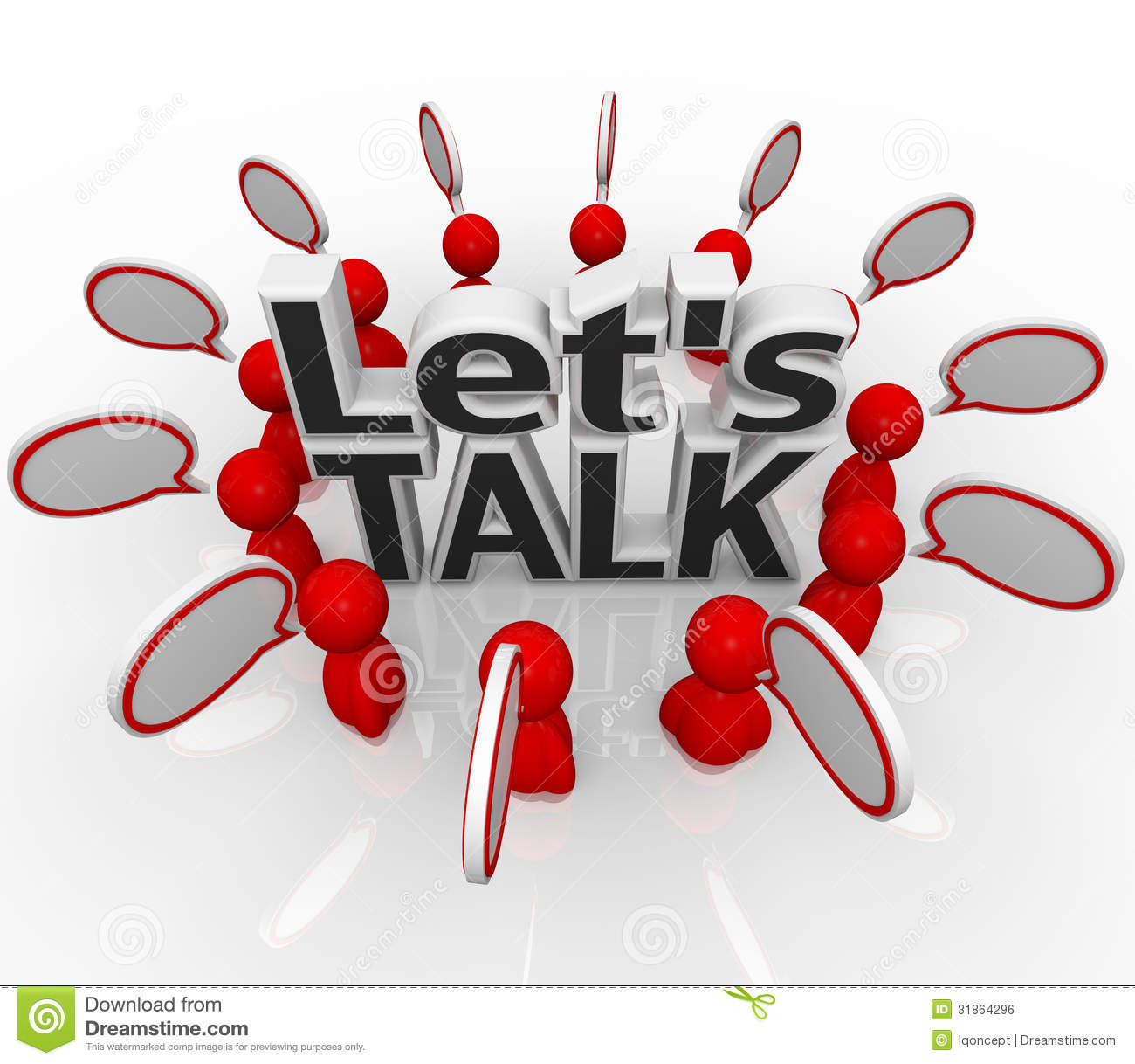 Let S Talk People Group In Circle Discuss In Speech Clouds Royalty