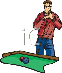 Man Playing In A Pool Tournament   Royalty Free Clipart Picture