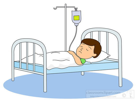 Medical   Boy Sick In Hospital Bed With Iv Bottl   Classroom Clipart