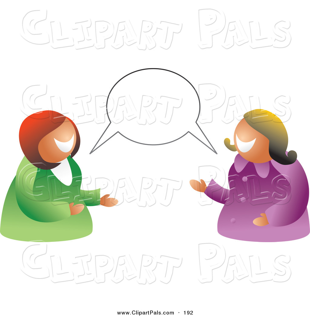 Pal Clipart Of A Pair Of Women Having A Conversation With A Blank