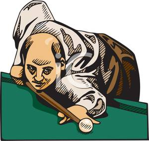 Pool Player Lining Up A Cue Ball   Royalty Free Clipart Picture