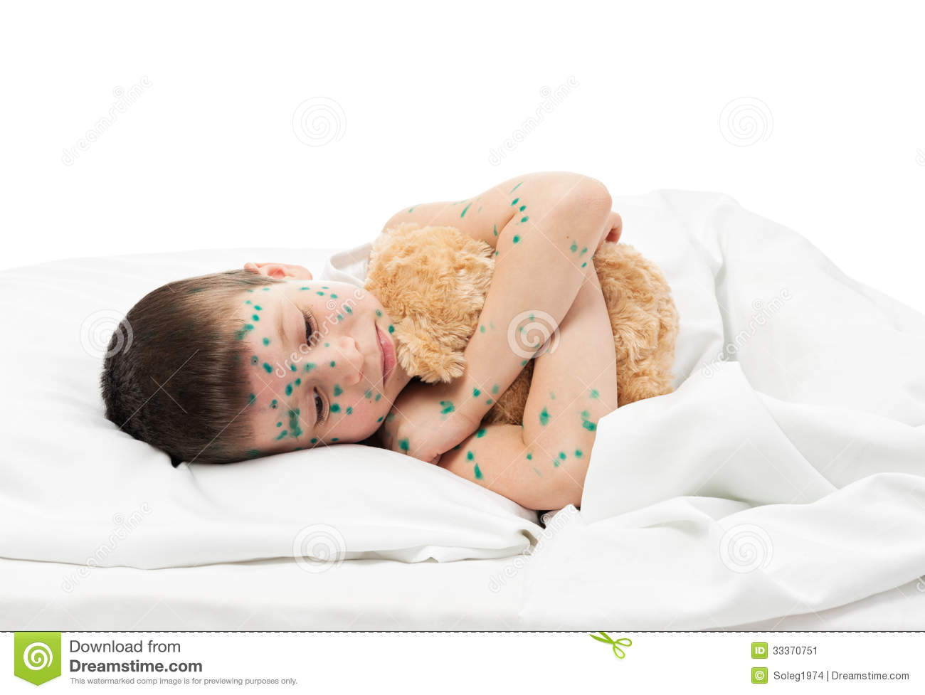 Sick Boy In Bed Stock Image   Image  33370751