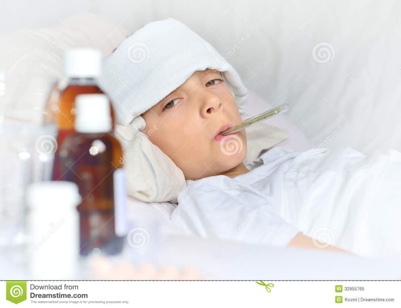 Sick Boy Lying In Bed Royalty Free Stock Photo   Image  32955765