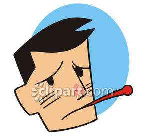 Sick Man With Thermometer In Mouth   Royalty Free Clipart Picture