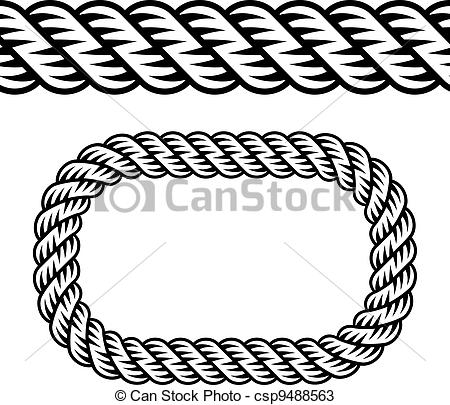 Vectors Of Vector Seamless Black Rope Symbol Csp9488563   Search Clip