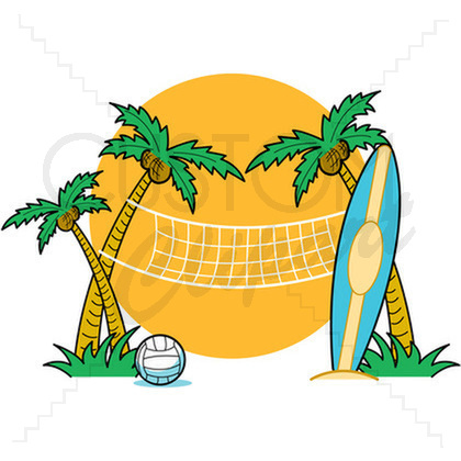 Beach Volleyball At Custom Clipart