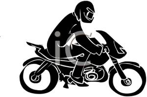 Black And White Cartoon Of A Man Riding On A Motorcycle   Royalty
