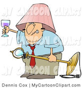 Clip Art Of A Snarling Drunk White Man Wearing A Pink Lamp Shade On