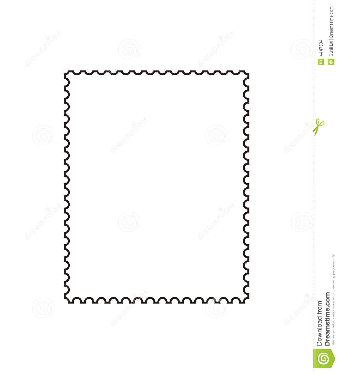 Outline Of Postage Stamp To Be Used By Designers  Vector  Format