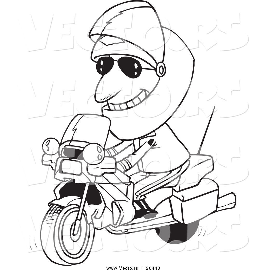 Vector Of A Cartoon Motorcycle Cop   Coloring Page Outline By Ron
