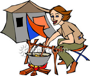 Woman Cooking Over A Campfire   Royalty Free Clipart Picture