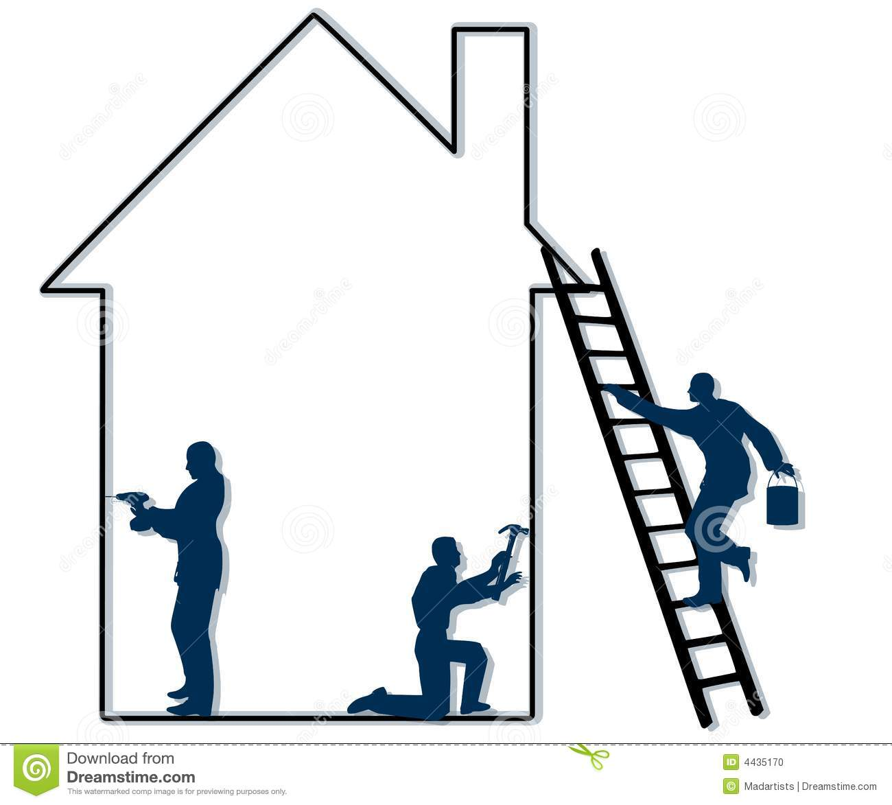 An Illustration Featuring The Outline Of A House With 3 Male