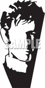 Black And White Cartoon Of A Male Model   Royalty Free Clipart
