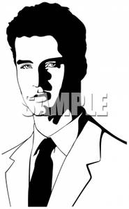 Black And White Silhouette Of A Male Model Wearing A Suit   Royalty