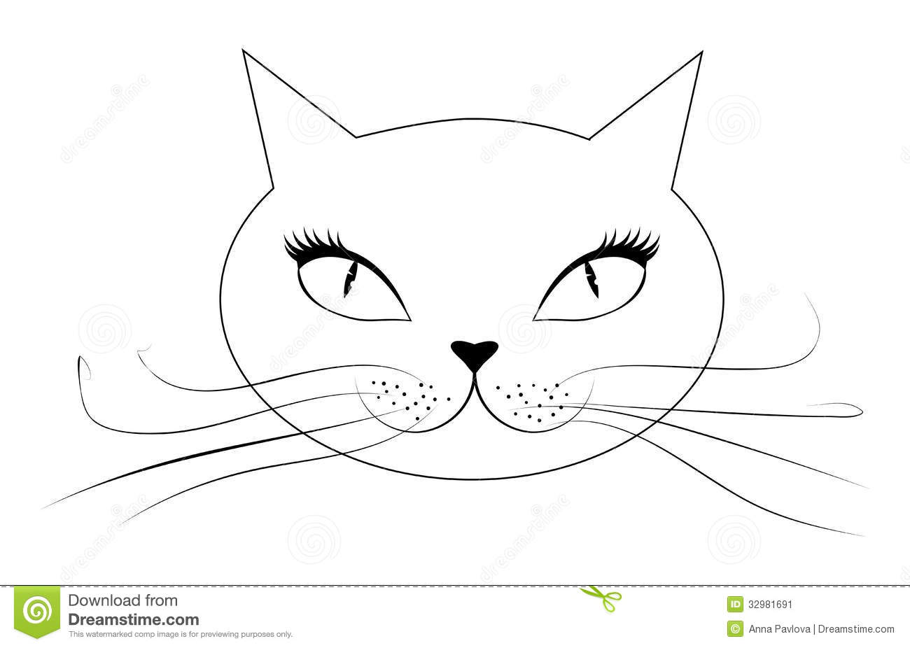 Cartoon Cat Face Stock Image   Image  32981691