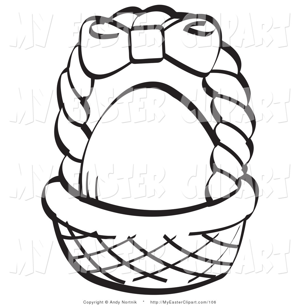 Clip Art Of A Coloring Page Egg In Brown Easter Basket With Clipart