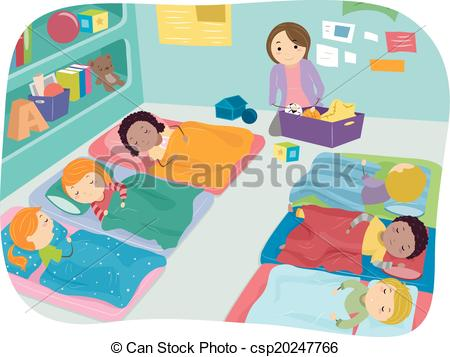 Clip Art Vector Of Nap Time Preschool   Illustration Of Preschoolers