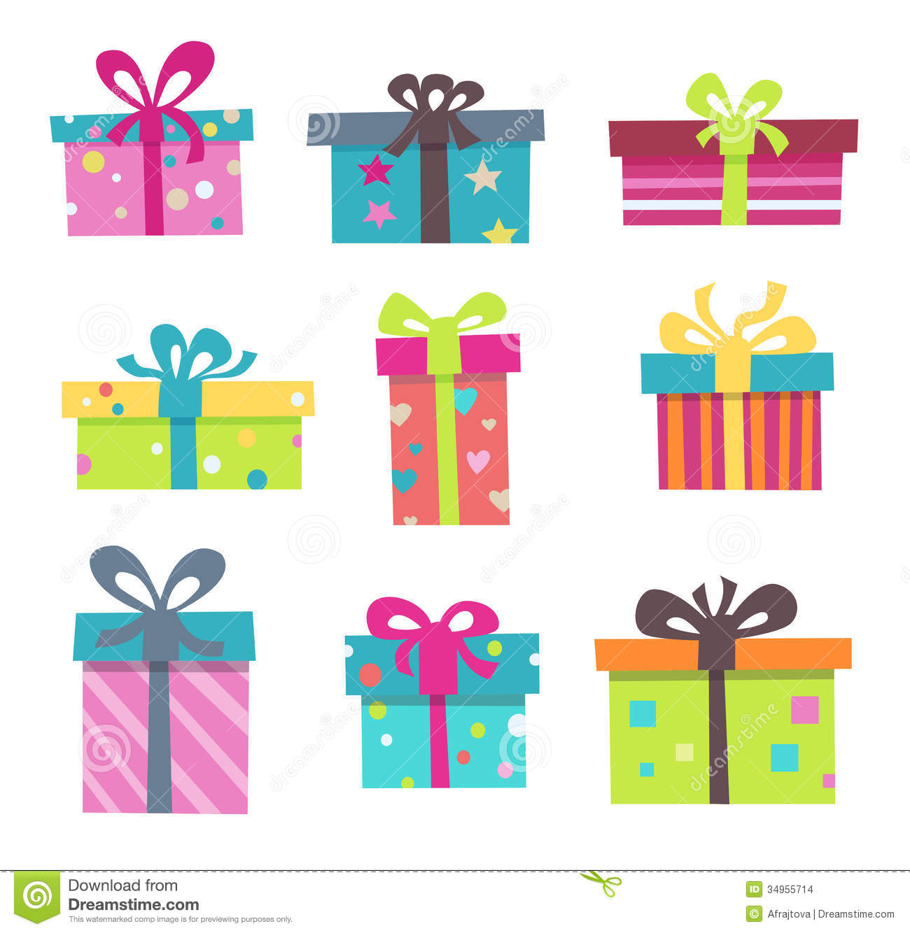 Cute Birthday Present Clipart Nine Cute Presents For