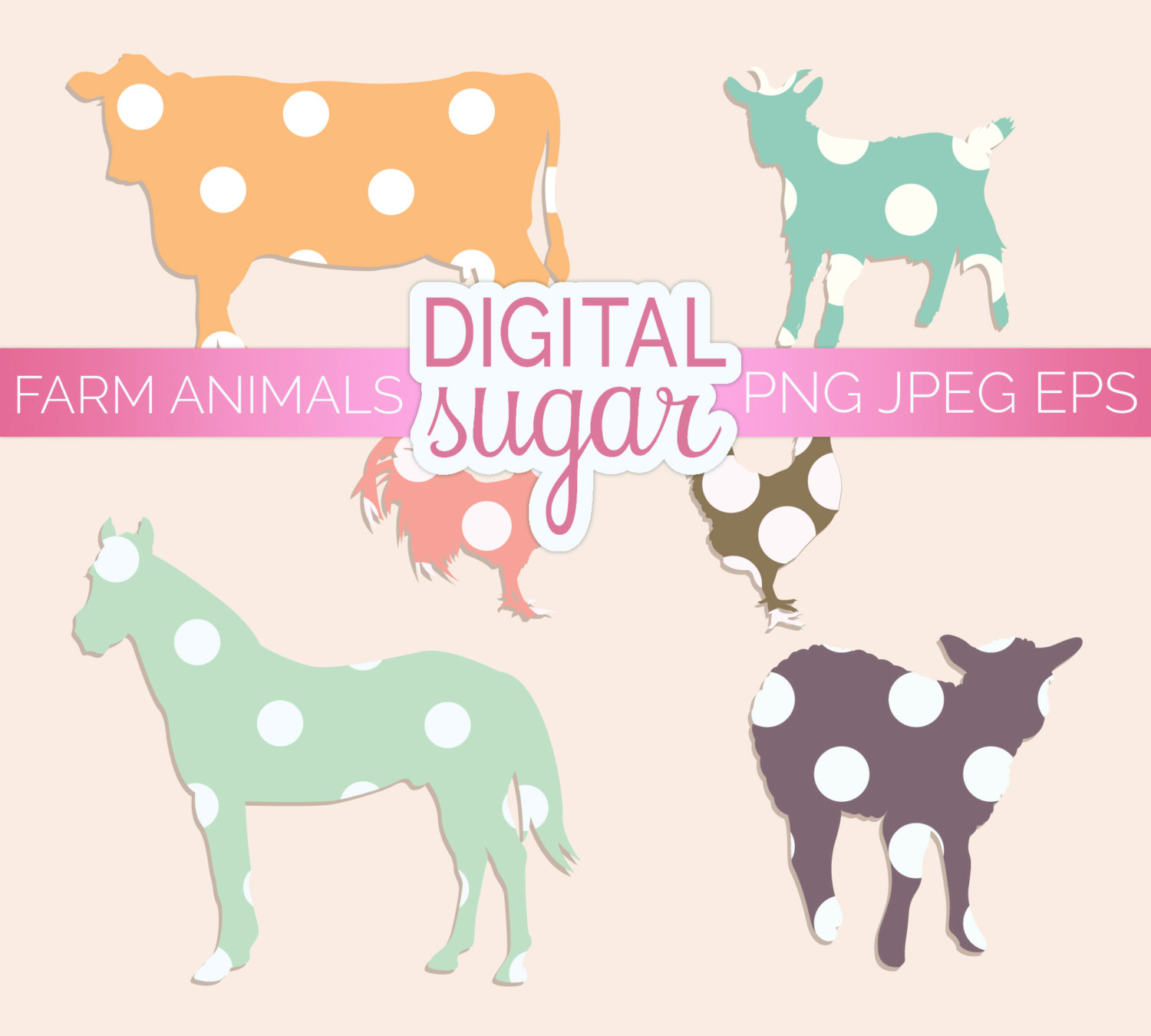 Farm Animal Clipart Baby Animal Clip Art Animal By Digitalsugar