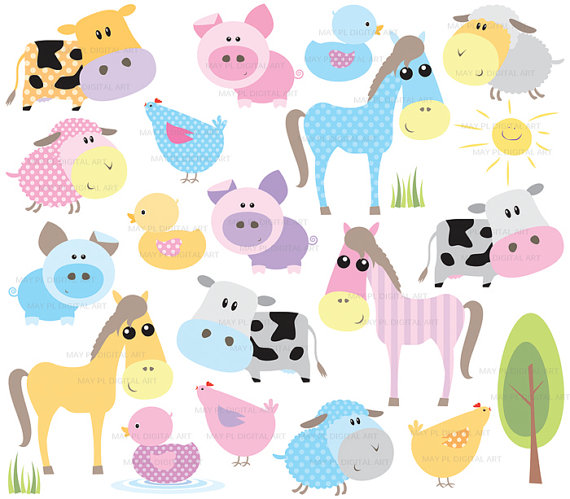 Farm Animals Clipart Cute Baby Farm Animal Pastel Horse Pig Sheep