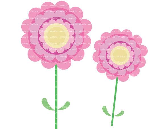 Flower Clip Art Digital Clipart   Pink Flower Digital Clip Art