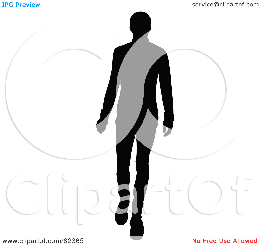 Free  Rf  Clipart Illustration Of A Black Silhouette Of A Male Model