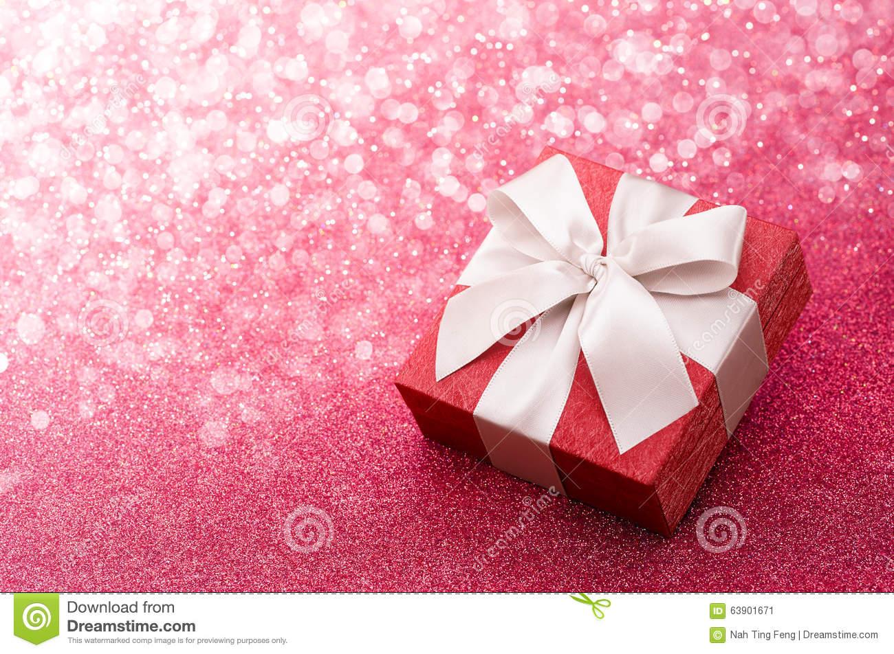 Gift Box On Pink Glitter Background Stock Photo   Image  63901671