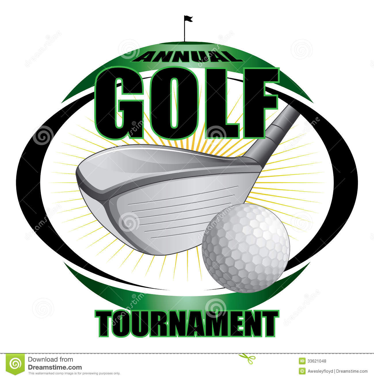 Illustration Of A Golf Tournament Design Contains Golf Clubs And Golf Golf Ball On Tee Clipart